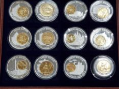 HISTORY OF BRITISH CURRENCY 12 COIN COLLECTION SET IN COPPER SILVER PLATED MEDALS AND LAY COIN