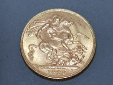 22CT GOLD 1928 FULL SOVEREIGN STRUCK IN SOUTH AFRICA