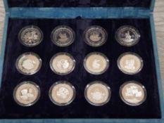 UK ROYAL MINT SILVER PROOF 12 CROWNS SET 1996 70TH QUEEN ELIZABETH II BIRTHDAY HOUSED IN ORIGINAL