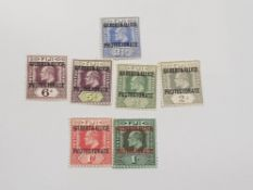 7 GILBERT AND ELLICE 1911 OPTD STAMP SET IN MINT CONDITION