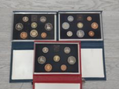 3 ROYAL MINT UK PROOF SETS DATING 1983 1985 AND 1986 ALL IN ORIGINAL CASES WITH CERTS