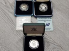3 ROYAL MINT UK SILVER PROOF 2 POUND COINS INCLUDES 1986 COMMONWEALTH GAMES, 1995 UN AND 1996