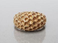 9CT YELLOW GOLD HONEYCOMB DESIGN TURBAN RING SIZE L 4.6G