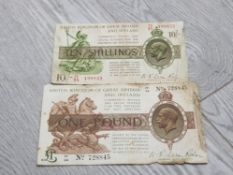 TWO GEORGE V BANKNOTES INCLUDES NF WARREN FISHER £1 NOTE AND ONE 10 SHILLING NOTE