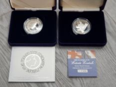 ROYAL MINT UK 2003 CORONATION £5 SILVER PROOF AND 2004 ENTENTE CORDIALE £5 SILVER PROOF COIN BOTH IN