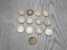 13 PRE 1945 SILVER INDIA 1/4 RUPEE COINS