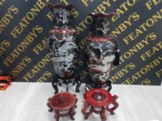 TWO MASSIVE ORIENTAL COMPOSITE VASES SHOWING AS MOTHER OF PEARL INLAY BOTH ON STANDS TOGETHER WITH A