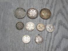 9 VARIOUS SILVER COINS MOSTLY BRITISH COLONIAL CANADA NEWFOUNDLAND CEYLON ETC 1 AS A PENDANT 25.7G