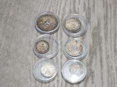 6 VARIOUS SILVER WORLD COINS INCLUDING FRENCH NAPOLEON III ITALY EGYPT LEBANON CENTS FRANCS QIRSH