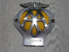 VINTAGE AA CAR BADGE 3B65269
