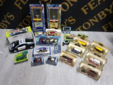 COLLECTION OF DIECAST VEHICLES INCLUDES RINGTONS TEA, DAYS GONE, CORGI TOYS, OXFORD AND HOTWINGS
