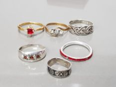6 VERY DECORATIVE SILVER RINGS 4 WITH STONES AND ONE IN THE CELTIC MANNER