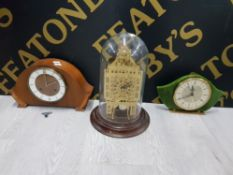 BIG BEN DOME CLOCK TOGETHER WITH WOODEN MANTLE CLOCK TOGETHER WITH ONE OTHER MANTLE CLOCK