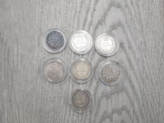 THE THREE DIFFERENT TYPES OF SILVER 6 PENCE COINS ISSUED IN 1887 AND 2 MORE VICTORIAN YOUNG HEAD