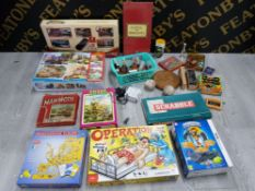 LARGE BOX OF JIGSAWS AND GAMES WITH DRAUGHTS, DOMINOES CHINESE CHECKERS BOARD WITH MARBLES, DICE