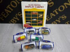 COLLECTION OF OXFORD DIECAST VEHICLES IN BOX AND A GLASS FRONTED DISPLAY CABINET AS NEW