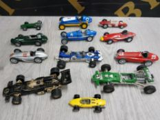 COLLECTION OF DIECAST RACING CARS INCLUDES CORGI, DINKY AND BRUMM ETC