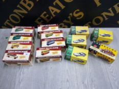 COLLECTION OF DIECAST VEHICLES IN ORIGINAL BOX INCLUDING GREAT BRITISH BUSES, CLASSIC SPORTS CARS