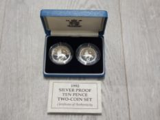 ROYAL MINT 1992 SILVER PROOF 2 PIECE 10 PENCE COIN SET WITH CERTIFICATE
