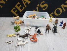 BOX OF PLASTIC FARM ANIMALS FIGURES INCLUDES BRITAINS ETC