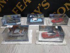 COLLECTION OF DIECAST 007 CARS INCLUDES ASTON MARTIN, MASERATI, MERCURY COUGAR AND FERRARI ETC