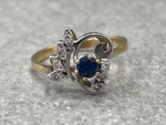 YELLOW GOLD SAPPHIRE AND DIAMOND RING SIZE P 3G