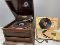 COLUMBIA GRAPHOPHONE WITH MANY RECORDS