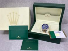 ROLEX SUBMARINER 2019 BI METAL OYSTER PERPETUAL DATE BLUE FACE AND BEZEL WITH ORIGINAL BOX AND