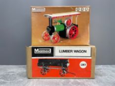 MAMOD STEAM TRACTOR IN ORIGINAL BOX WITH LUMBER WAGON AND BOXED