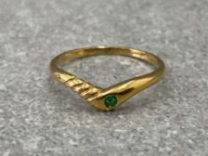 14CT GOLD EMERALD RING SIZE P 1.6G