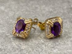 PAIR OF 14CT GOLD AMETHYST AND DIAMOND EARRINGS