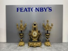 BEAUTIFUL MODERN FRENCH CLOCK WITH MATCHING PAIR CANDELABRAS SET WITH MARBLE AND GOLD DESIGN
