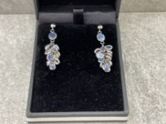 14CT WHITE GOLD PAIR OF AQUAMARINE DROP EARRINGS