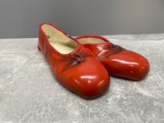 PAIR OF RED BALLET WALL HANGING SHOES BY BRENTLEIGH WARE