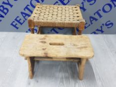 VINTAGE RUSH SEATED STOOL TOGETHER WITH A PINE CRACKET STOOL