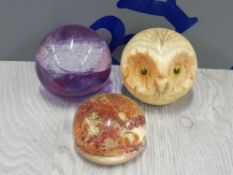 CAITHNESS PAPERWEIGHT TOGETHER WITH HAND CARVED ALABASTER OWL PAPERWEIGHT PLUS ONE OTHER
