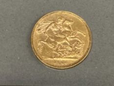 22CT GOLD 1880 FULL SOVEREIGN COIN