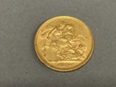 22CT GOLD 1876 FULL SOVEREIGN COIN