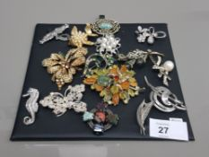 14 VARIOUS COSTUME BROOCHES INCLUDES EXQUISITE MIRACLE CONVENTRY GB STERLING POLISHED SCOTTISH