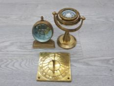 3 BRASS ITEMS INCLUDES A SWIVEL COMPASS CLOCK AND A SUNDIAL