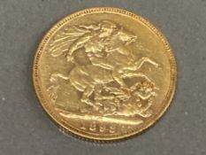 22CT GOLD 1893 FULL SOVEREIGN COIN