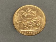 22CT GOLD 1899 FULL SOVEREIGN COIN