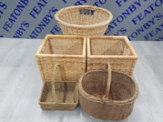 5 VARIOUS SIZED WICKER BASKETS