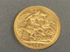 22CT GOLD 1890 FULL SOVEREIGN COIN