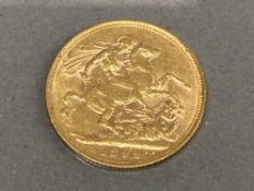 22CT GOLD 1892 FULL SOVEREIGN COIN