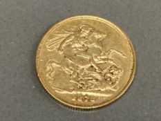 22CT GOLD 1878 FULL SOVEREIGN COIN