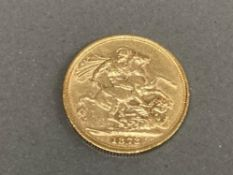 22CT GOLD 1873 FULL SOVEREIGN COIN