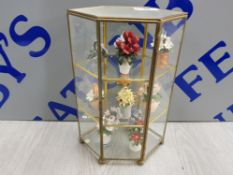 GLASS DISPLAY TABLE CABINET WITH MINATURE PORCELAIN FLOWER FIGURES