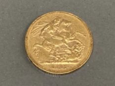 22CT GOLD 1887 FULL SOVEREIGN COIN