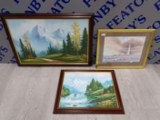 3 FRAMED PICTURES INCLUDING 2 OIL ON BOARDS OF OUTDOOR SCENES ONE SIGNED BY W.CHAPMAN AND ONE SIGNED